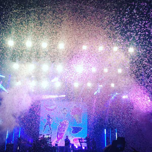 The only rain we saw at Bestival 2015 was heaps of confetti.