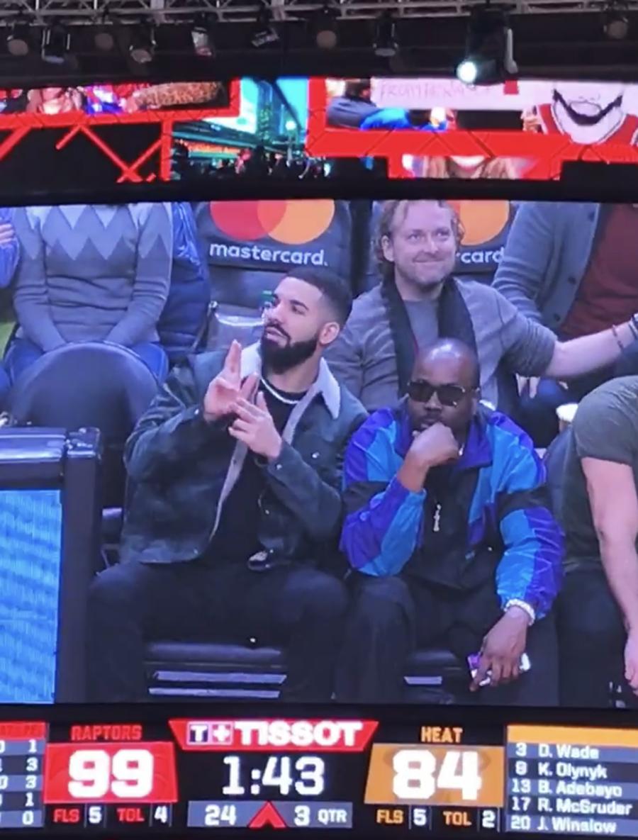 Drake at the Toronto Raptors vs. Miami Heat game.