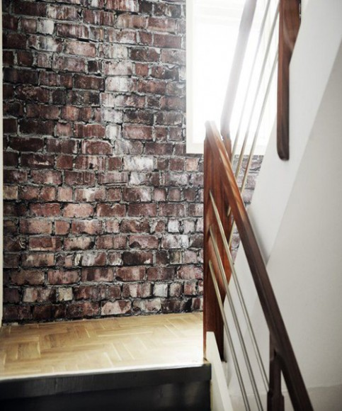 Exposed_Bricks_Wallpaper_Interior_Design_staircase