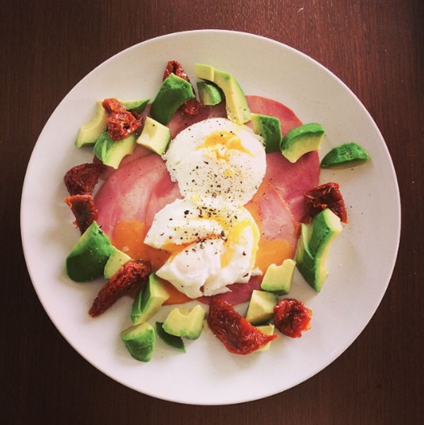 Avocado, eggs and ham breakfast