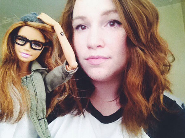 Hipster Barbie and her creator Darby Cisneros.