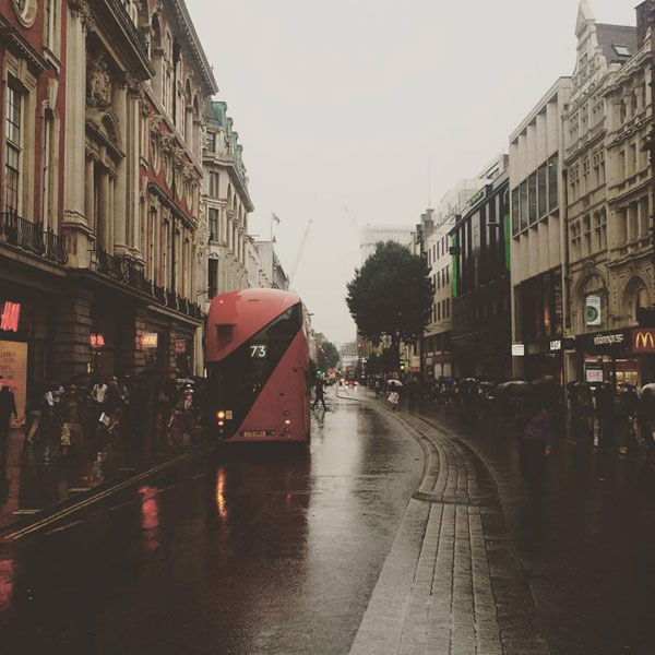 Grey skies, wet streets and lots of people. A typical summer day in London!